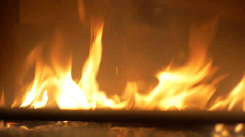 Firewood in a fireplace Footage