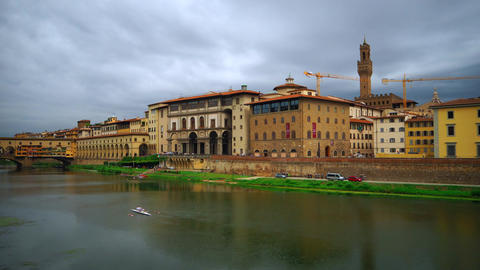 Time lapse of Uffizi Gallery and Palazzo Vecchio, Florence Footage