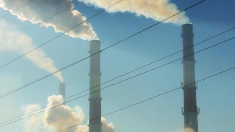Factory chimneys smoke Footage