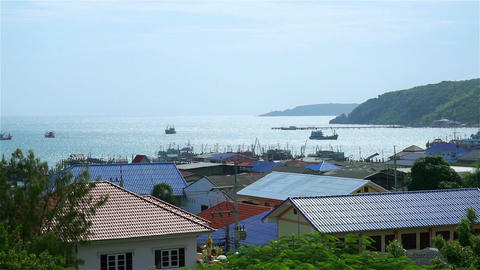 Fishing village & Boat at Chonburi, Thailand ビデオ