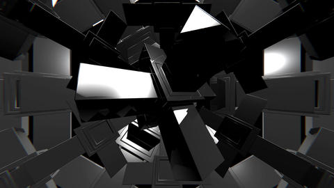 VJ Black and White 3D Shapes Animation