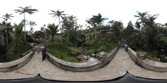 360VR video Bridge over river at Gunung Kawi Temple in Ubud, Bali Footage