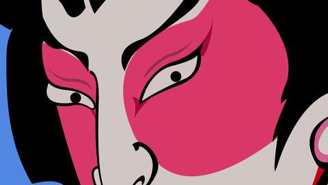 Dramatic Japanese Kabuki Character Filmmaterial
