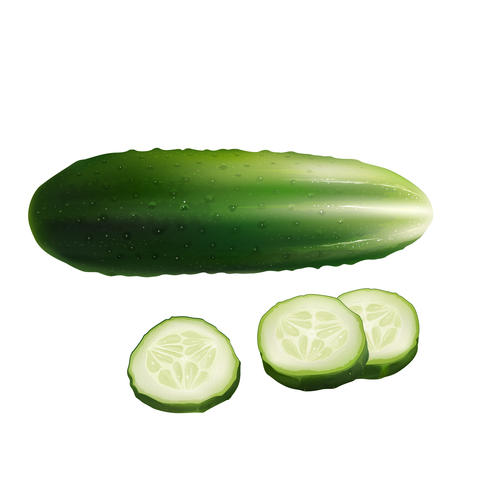 Cucumber on white background フォト