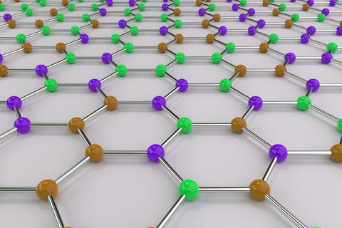 Graphene atomic structure on white background フォト