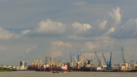 Large Cargo City Sea Port Working Cranes Boats Drift Footage