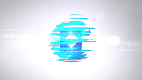 News Logo Intro - Blue Sphere Robbons Light Logo Reveal Animation After Effectsテンプレート