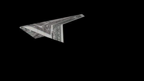 Origami Airplane - 1 USD Banknote - 04 - Transparent Animation