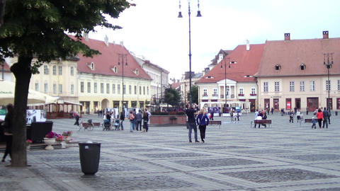 People Which Is A Walk In The Central Square Of A City Paved With Stone 22 stock footage