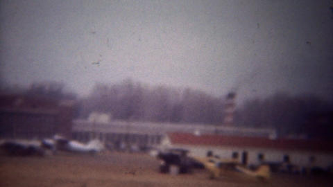 1948: Airfield full of propeller biplanes and new jets airplanes Footage