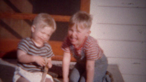 1949: Blonde toddler boys playing on sunny summer home porch Footage