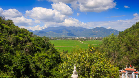 Upper of Valley Landscape Pagoda Hills in Vietnam Clouds Motion Footage