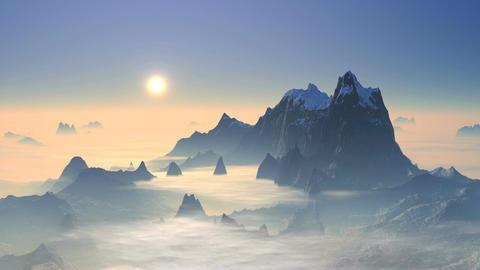 Sunset Over Mountain Peaks 画像