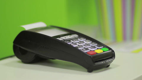 Hand using bank terminal for credit card payment Stock Video Footage