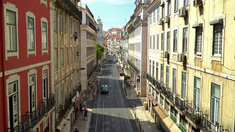 Aerial View Of Lisbon City In Portugal Filmmaterial