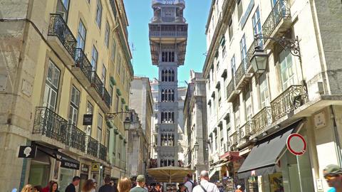 Santa Justa Elevador Lift in Lisbon Footage