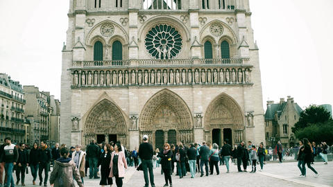 PARIS, FRANCE - OCTOBER 8, 2017. Crowded square near the Notre-Dame Cathedral Footage