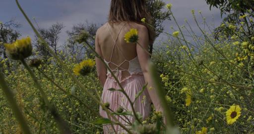 Woman Walks Through Waving Flowers Footage