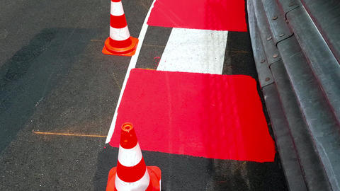 Formula 1 Surface With Traffic Cones in Monaco Image