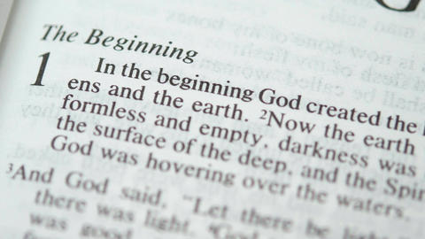 Sunday reading holy bible: in the beginning God created Footage