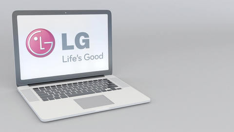 Rotating opening and closing laptop with LG Corporation logo. Computer Footage
