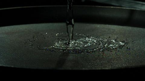 Water Pouring Onto Skillet Macro Slo-Mo Footage