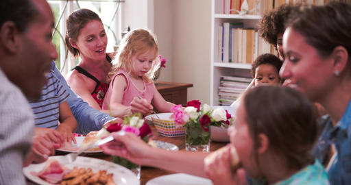 Group Of Families Having Meal At Home Together Live Action