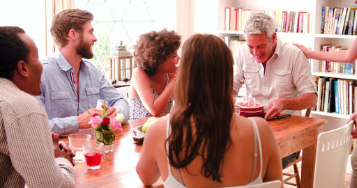 Group Of Friends Celebrating Birthday At Home Together Footage