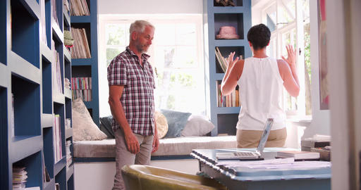 Mature Couple In Home Office Having Argument Footage