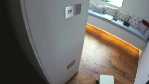 Point of view of man switching off light switch Live Action