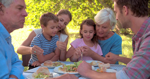 Multi-generation family eating together outdoors Footage