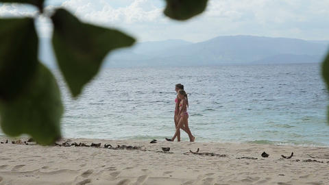 Happy family walking on the beach Footage