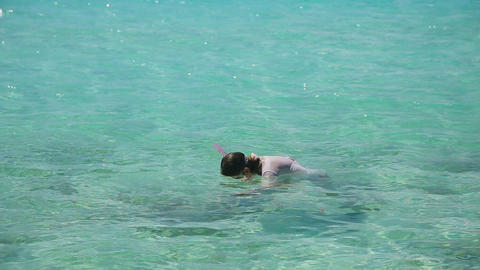 Young girl snorkeling in sea Footage