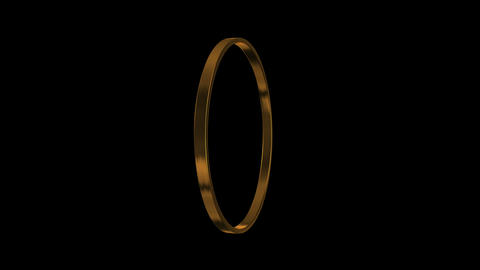 gold ring turning around 4 K Animation