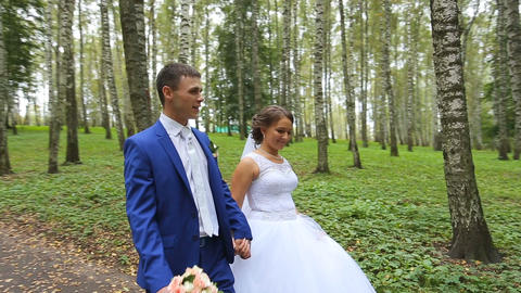 newlyweds,couple of happy newlyweds on a walk in summer park Footage