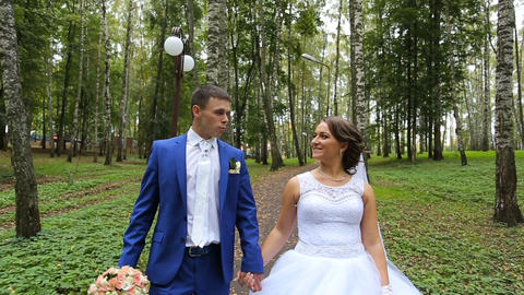 couple,newlyweds of happy newlyweds on a walk in summer park Footage