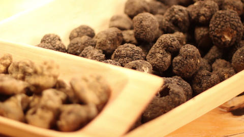 Dark And White Truffles In A Wooden Dish stock footage