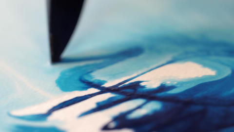 Painter Drawing With Water Colors On Paper Macro stock footage