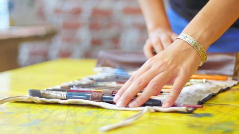 Painter preparing closeup slide Footage