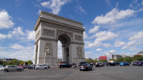 Arc de Triomphe and blue sky pan Footage