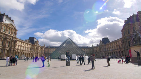 Louvre and blue sky pan Footage