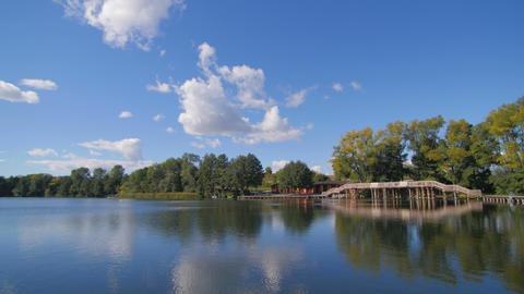 Small And Peaceful Dock On The Lake In The Summer Pan stock footage