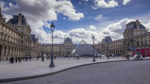 Time Lapse Of Louvre Complex And Traffic stock footage