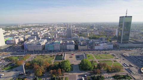 Cityscape pan of the center of Warsaw Footage