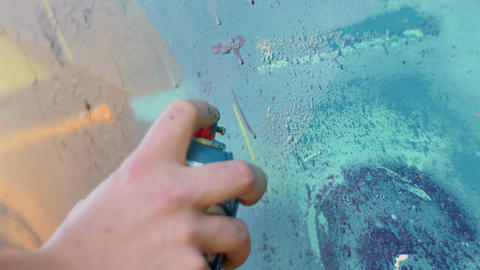 Writer hand painting with spray can Footage