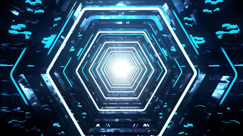 3D Blue Sci-Fi Hexagon Tunnel VJ Loop Motion Background Animation