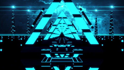 3D Blue Abstract Triangles Tunnel VJ Loop Motion Background Animation
