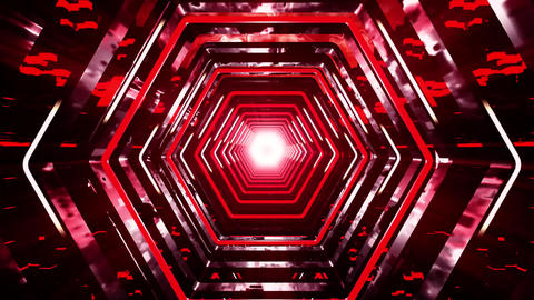 3D Red Sci-Fi Hexagon Tunnel VJ Loop Motion Background Animation