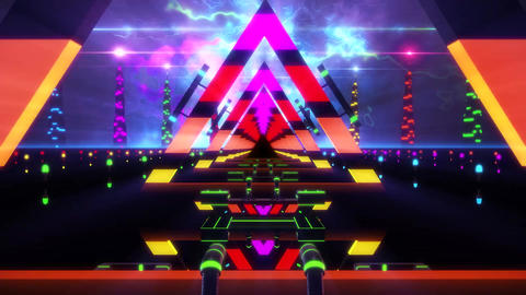 3D Colorful Abstract Triangles Tunnel VJ Loop Motion Background Animation