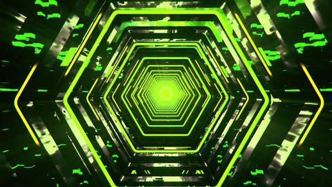 3D Green Sci-Fi Hexagon Tunnel VJ Loop Motion Background Animation
